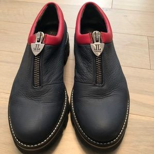 Navy red purple Loafers leather shoes